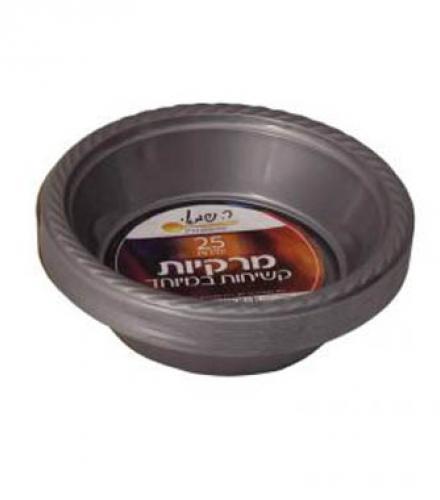 צלחות מרק צבעוני כסף 25 יח' ר. שמאי