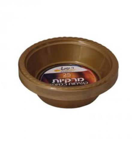 צלחות מרק צבעוני זהב 25 יח' ר. שמאי עד