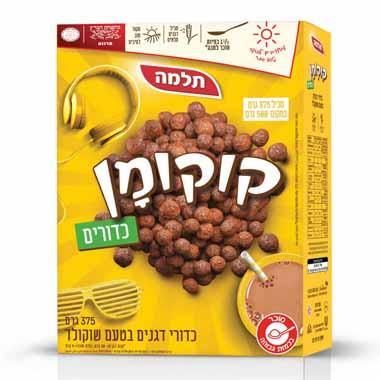 קוקומן כדורי דגנים בטעם שוקולד 375 גרם תלמה