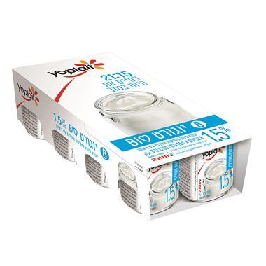 מארז יוגורט ביו לבן במתיקות מעודנת וניל 8*150 גרם 1.5% שומן - תנובה