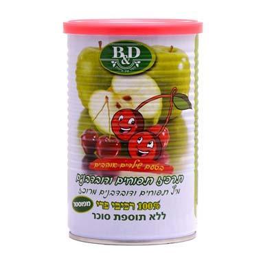 """תרכיז תפוחים ודובדבנים לילדים 100% רכיבי פרי ללא תוספת סוכר 650 מ""""ל"""