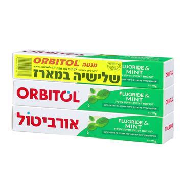 משחת שיניים בטעם מנטה 145 ג' שלישייה - אורביטול