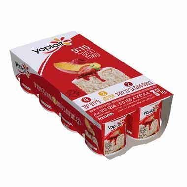 יוגורט ביו עם פירות יער, בטעם עוגת גבינה ותות ועם אפרסק 3% יופלה (150x8 גרם)