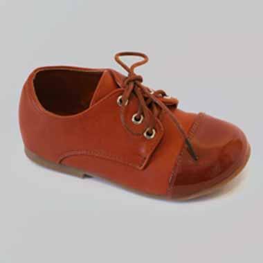נעל שטוחה חומה 2 צבעים עם שרוכים