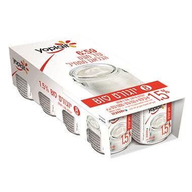 מארז יוגורט יופלה לבן טבעי  1.5% שומן 8*150 גרם תנובה