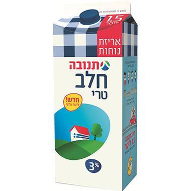 חלב בקרטון 3% ליטר וחצי  עד