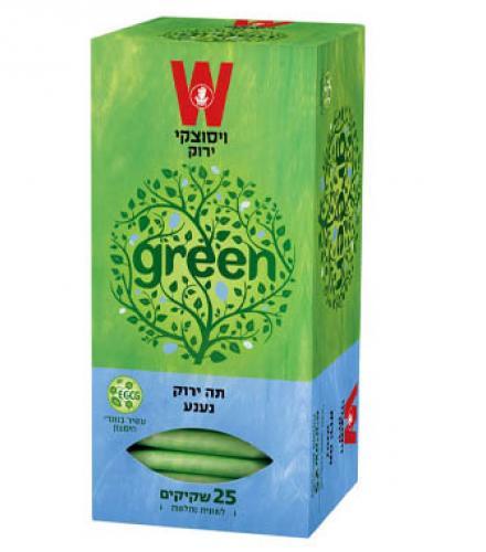 שקיקי תה ירוק נענע 25 שקיקים משקל שקיק 1.5 גרם - ויסוצקי