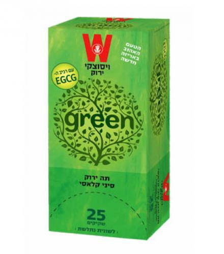 שקיקי תה ירוק סיני קלאסי 25 שקיקים משקל שקיק 1.5 גרם - ויסוצקי