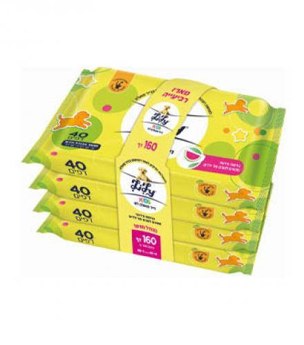 מגבוני נייר טואלט לח לילי ילדים מארז*4 - 40 יחידות