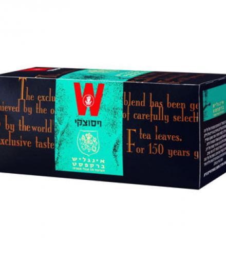 שקיקי תה אינגליש ברקפסט 25 שקיקים משקל שקיק 2 גרם - ויסוצקי