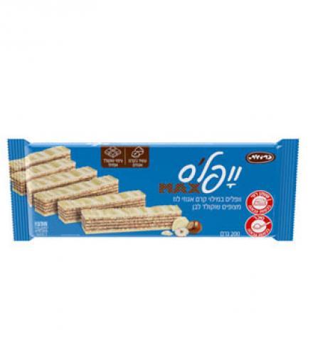 וופלס - וופלים במילוי קרם אגוזי לוז בציפוי שוקולד לבן 200 גרם כרמית