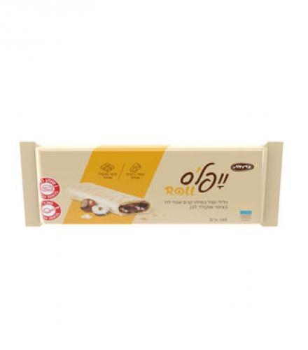 וופלס - גלילי וופל במילוי קרם אגוזי לוז  בציפוי שוקולד לבן 160 גרם כרמית