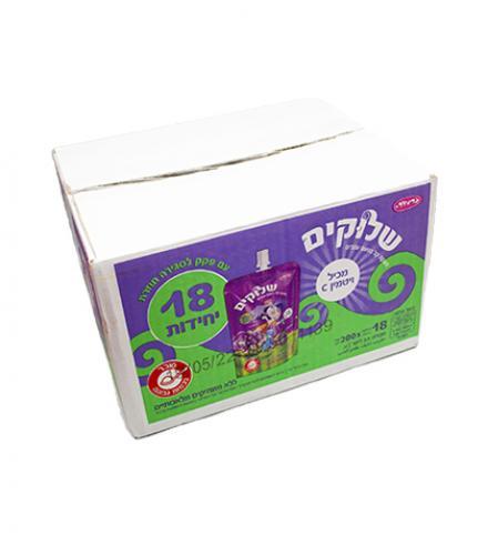 שלוק משקה קל בטעם ענבים עם פקק 18 יחידות 200 מ