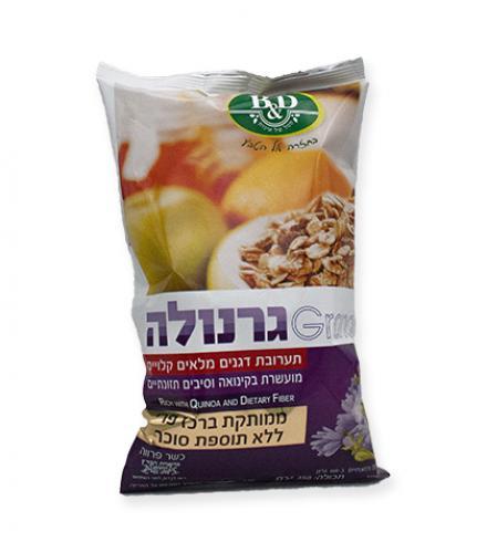 גרנולה מועשרת בקינואה וסיבים תזונתיים ללא תוספת סוכר 350 גרם בי אנד די