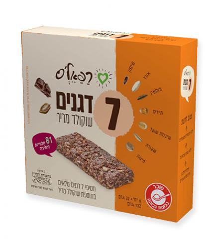 חטיף 7 דגנים שוקולד מריר 132 גרם כרמית