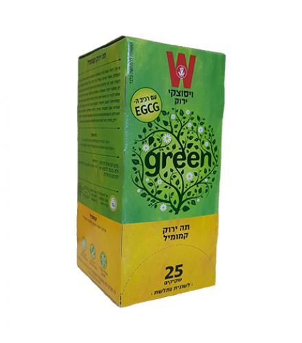 שקיקי תה ירוק קמומיל 25 שקיקים משקל שקיק 1.5 גרם - ויסוצקי