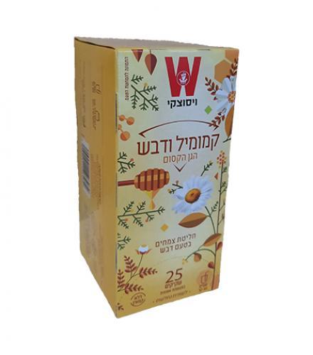 שקיקי תה קמומיל ודבש ללא קפאין - הגן הקסום 25 שקיקים משקל שקית 1.5 גרם - ויסוצקי