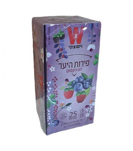 שקיקי תה פירות היער ללא קפאין - הגן הקסום 25 שקיקים משקל שקית 2.7 גרם - ויסוצקי