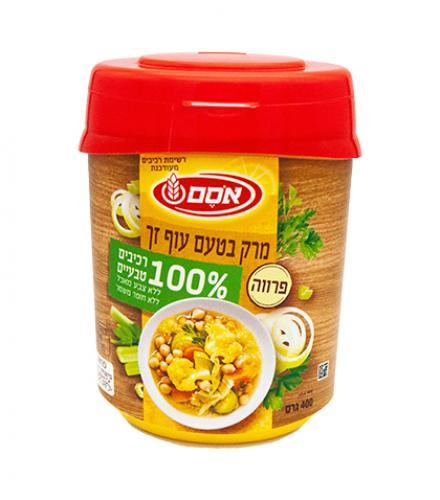 אבקת מרק בטעם עוף זך פרווה רכיבים טבעיים 400 גרם - אסם