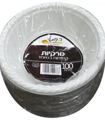 צלחות מרק לבן 100 יח' ר. שמאי