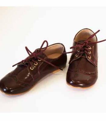 נעל חום-בורדו עם שרוכים