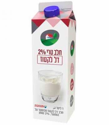 חלב טרי 2% דל לקטוז 1 ליטר תנובה