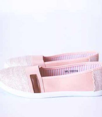 נעלי בד עם דוגמא ורוד לבן