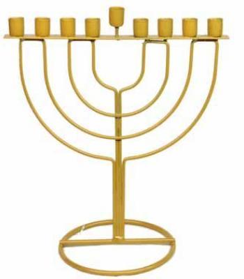 חנוכיית מתכת מעוצבת דמוי זהב