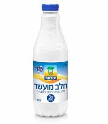 חלב טרי מועשר בבקבוק 3% יטבתה 1 ליטר