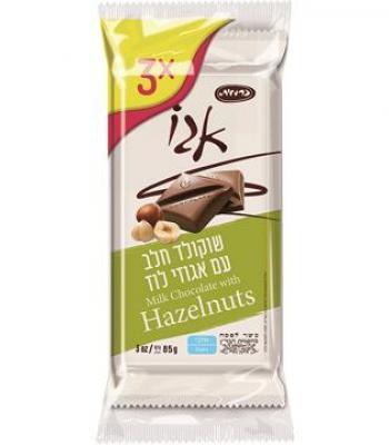 אגו שוקולד חלב עם אגוזי לוז כרמית 3*85  כשל