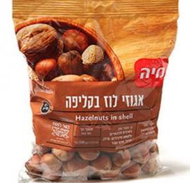 אגוזי לוז עם קליפה 400 גרם מיה