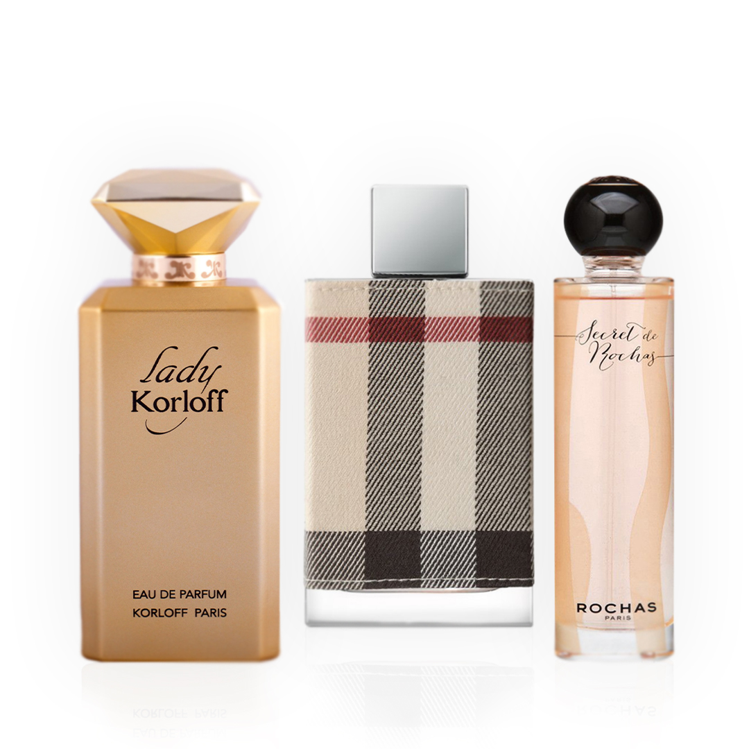Korloff Lady Korloff Intense / Rochas Secret De Rochas / Burberry London